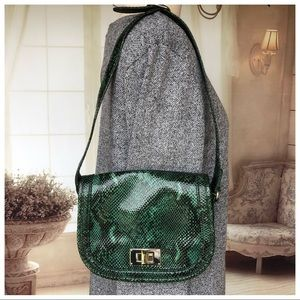 Talbots green reptile shoulder bag